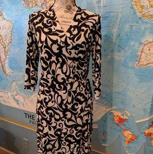 Bisou Bisou Women's Wrap Dress Sz 4 B&W 3/4 Sleeve